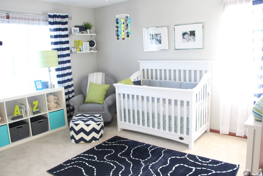 Baby Boy Nursery Little Room Navy Lime Green And Gray
