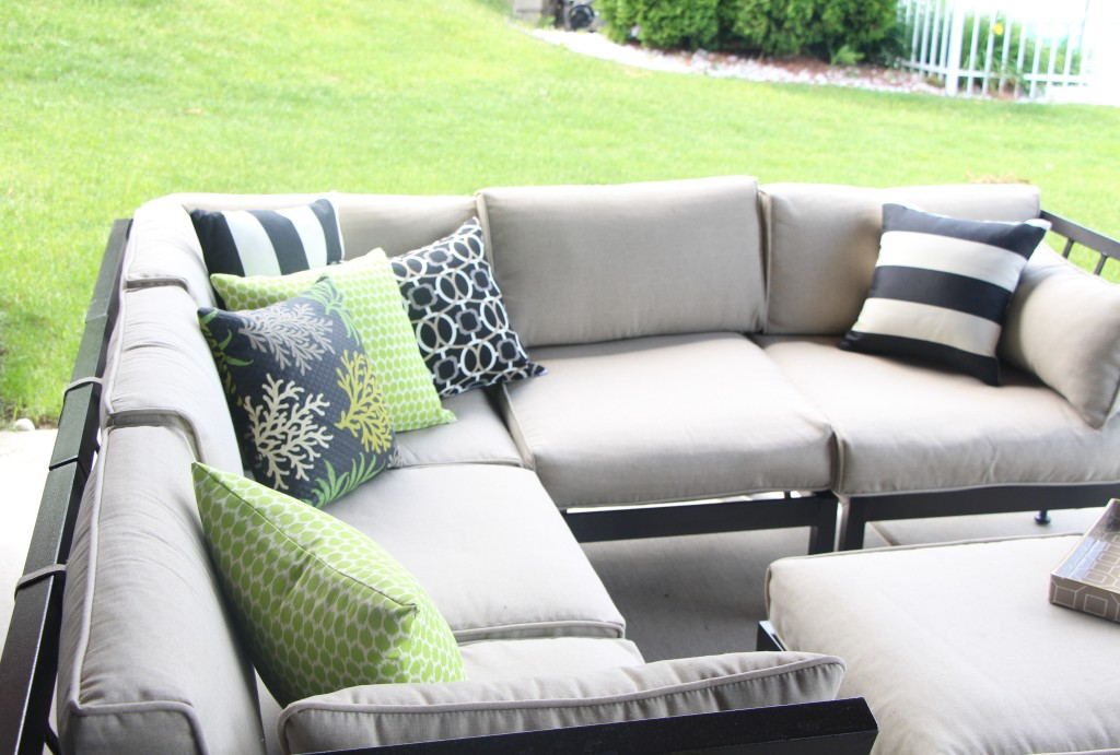 outdoor oasis   outdoor patio pillow   DIY backyard patio decor   This is our Bliss