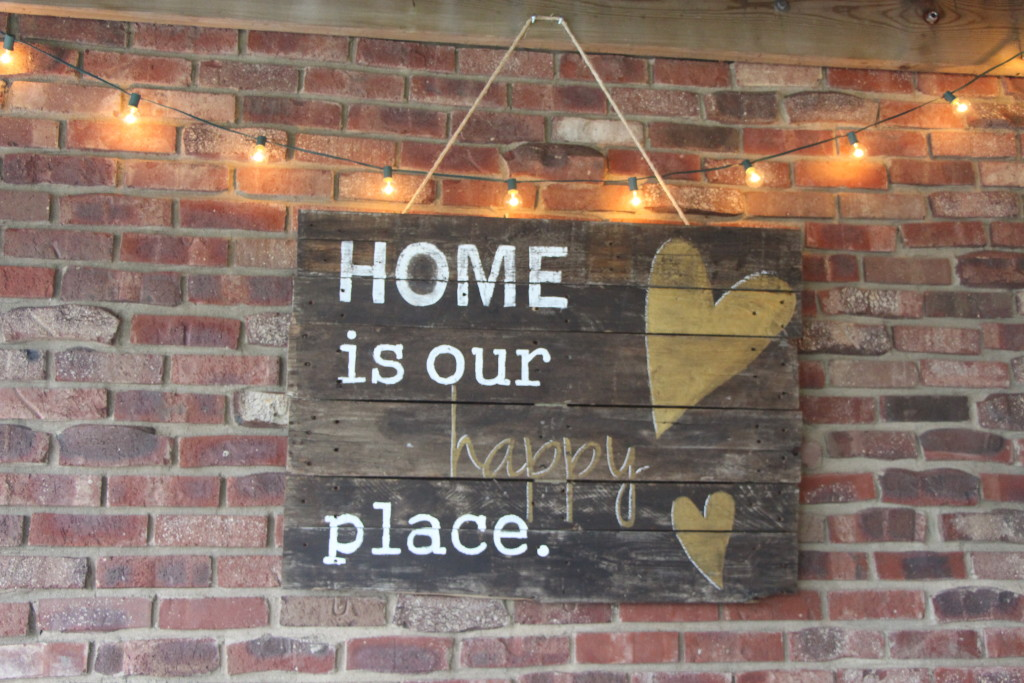 outdoor oasis   backyard patio DIY pallet sign   outdoor lights   This is our Bliss