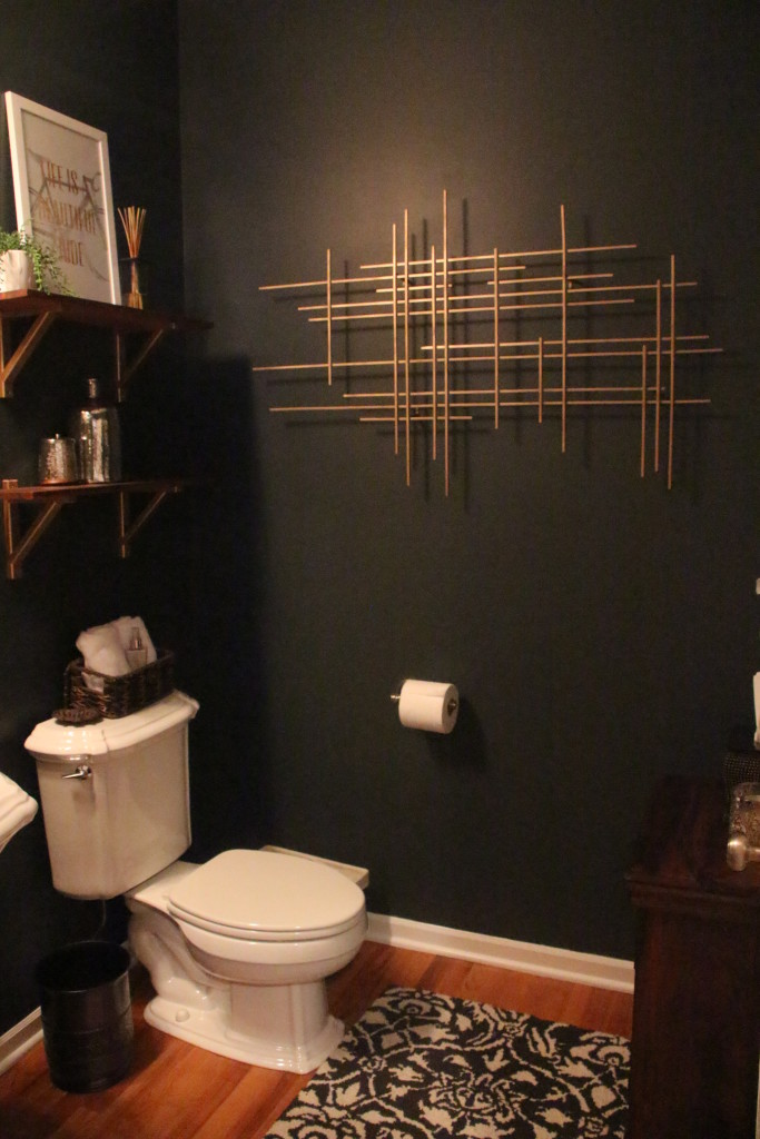 powder room makeover   Rustic modern glam   This is our Bliss   www.thisisourbliss.com