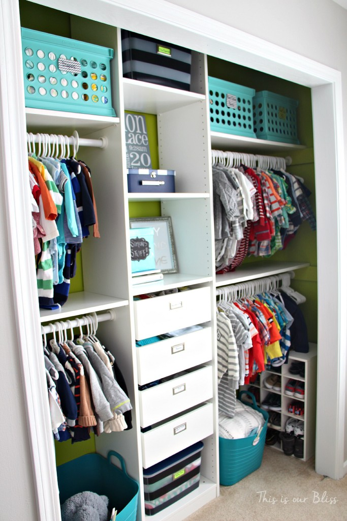 Baby boy nursery closet   diy nursery organization   navy green gray nursery   This is our Bliss