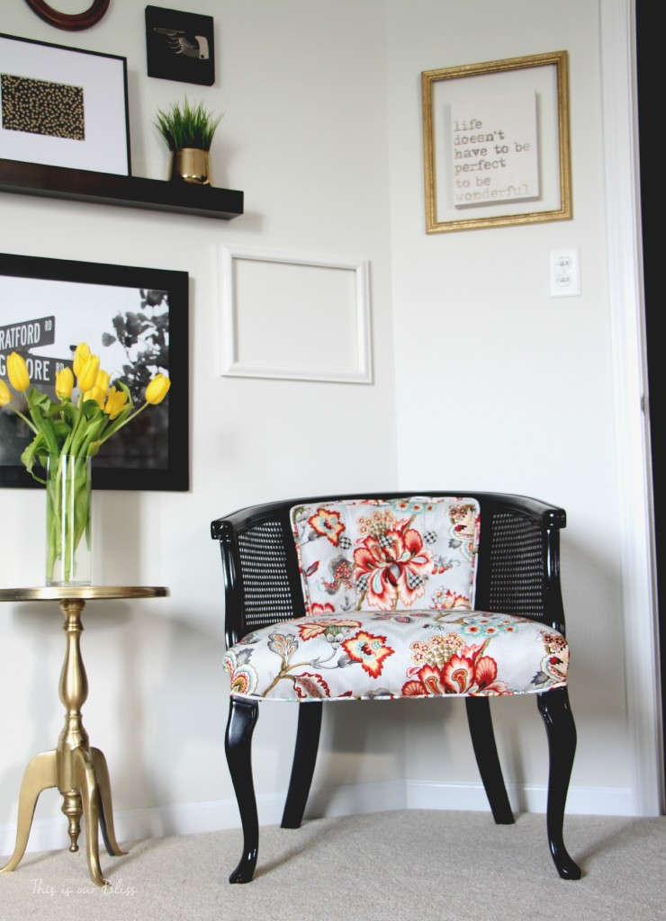 Guestroom revamp - Gallery wall - picture ledge - floating frame - DIY cane chair - Floral pattern - This is our Bliss