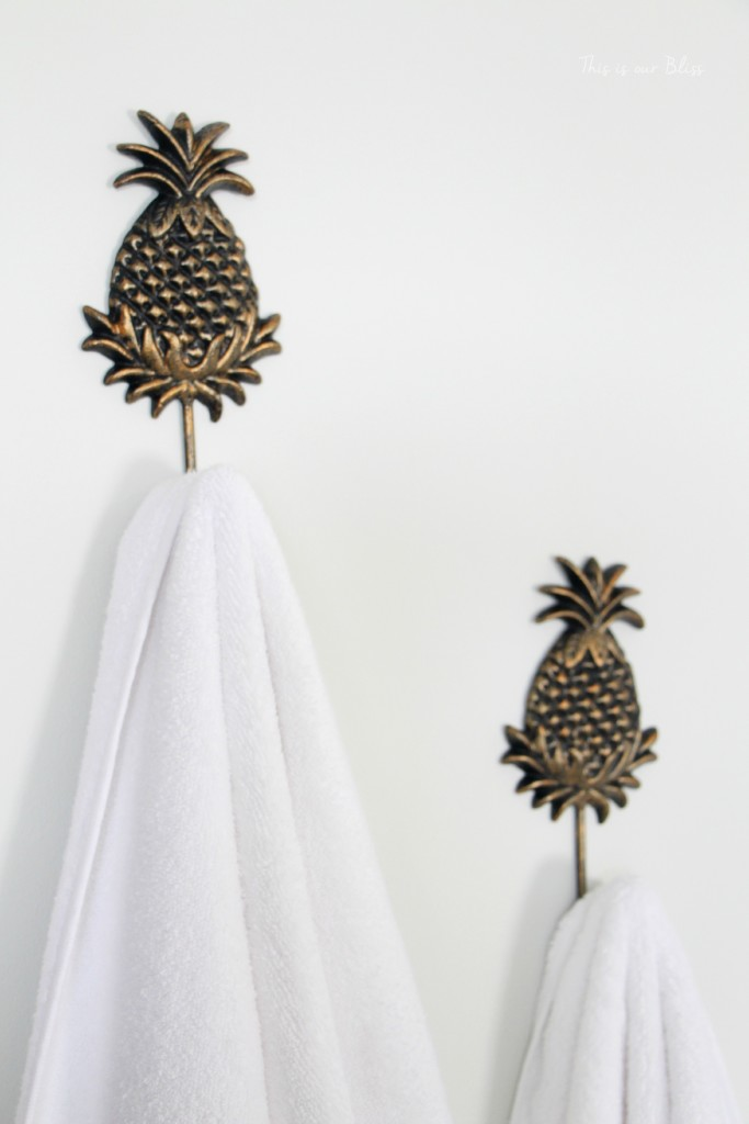 Guestroom Revamp - guest towel hooks - gold pineapple hooks - This is our Bliss