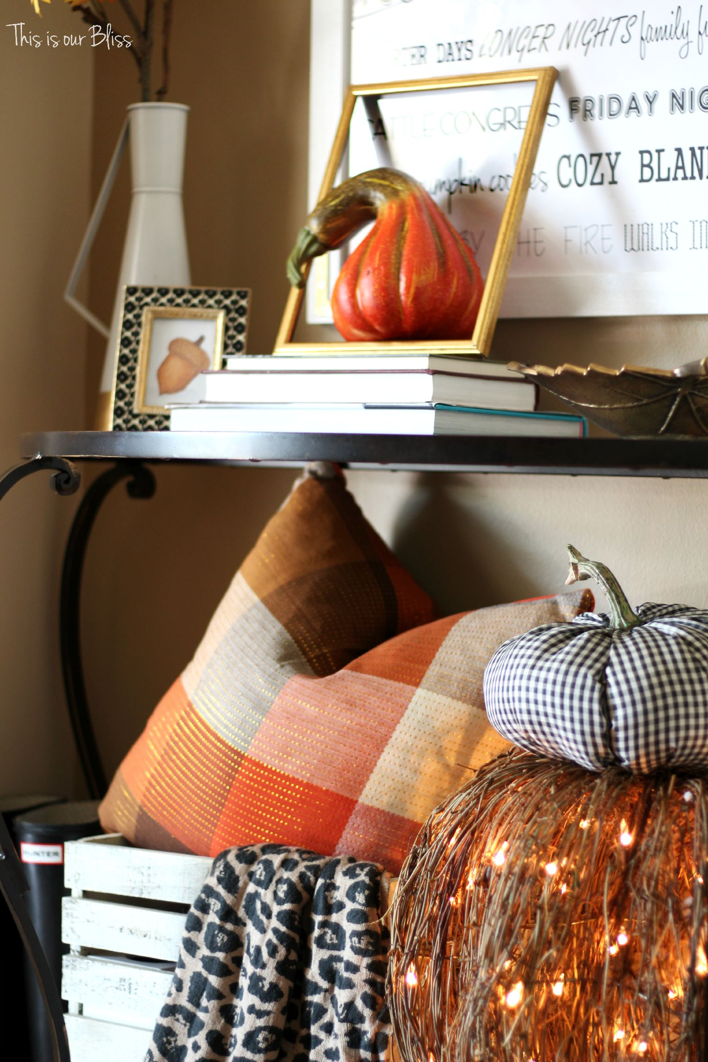 DIY fall throw pillows with cloth napkins Fall entryway fall table linens Fall decorating This is our Bliss