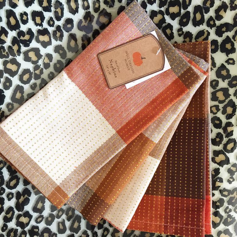 fall plaid cloth napkins - HomeGoods