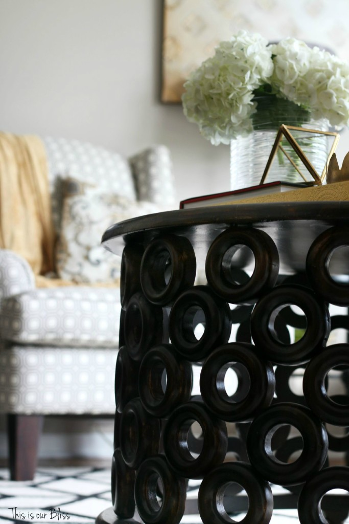 How to style a coffee table - coffee table styling - elements of a well-styled coffee table - coffee table detail - living room chairs - fresh flowers - 1 - Back to Basics - This is our Bliss
