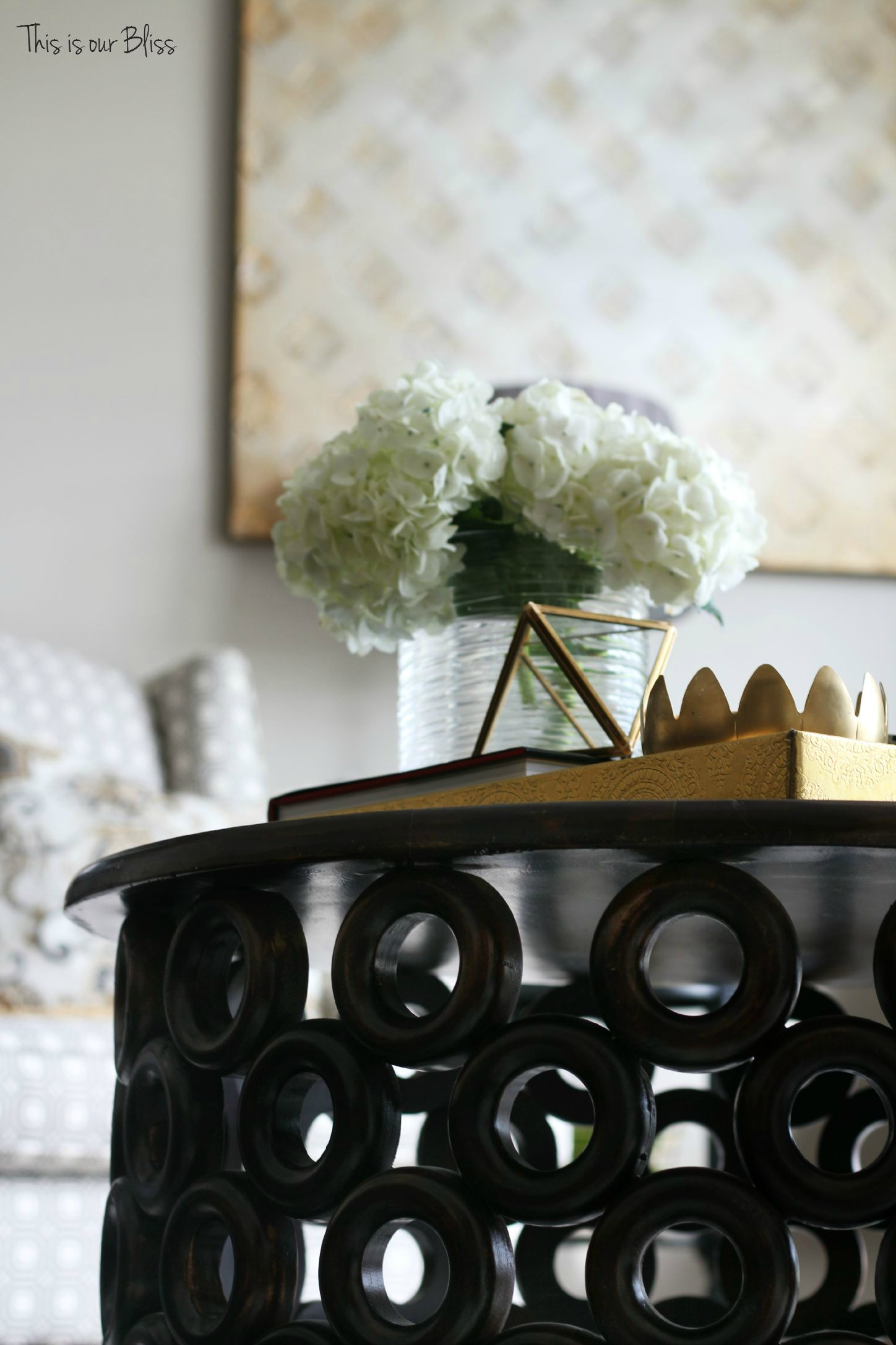 How to style a coffee table - coffee table styling - elements of a well-styled coffee table - coffee table detail - living room chairs - fresh flowers - Back to Basics - This is our Bliss