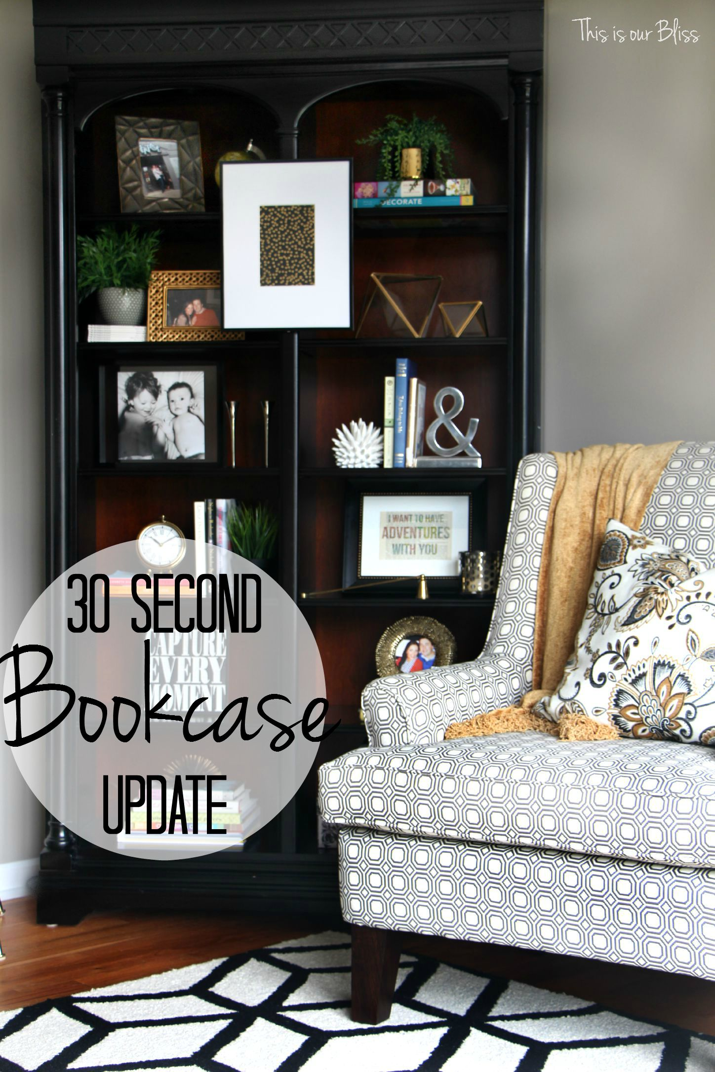 how to update an old bookcase with command hooks - 30 second makeover - formal living room bookcase 1- hanging art on a bookcase - living room chair - bookcase after - This is our bliss