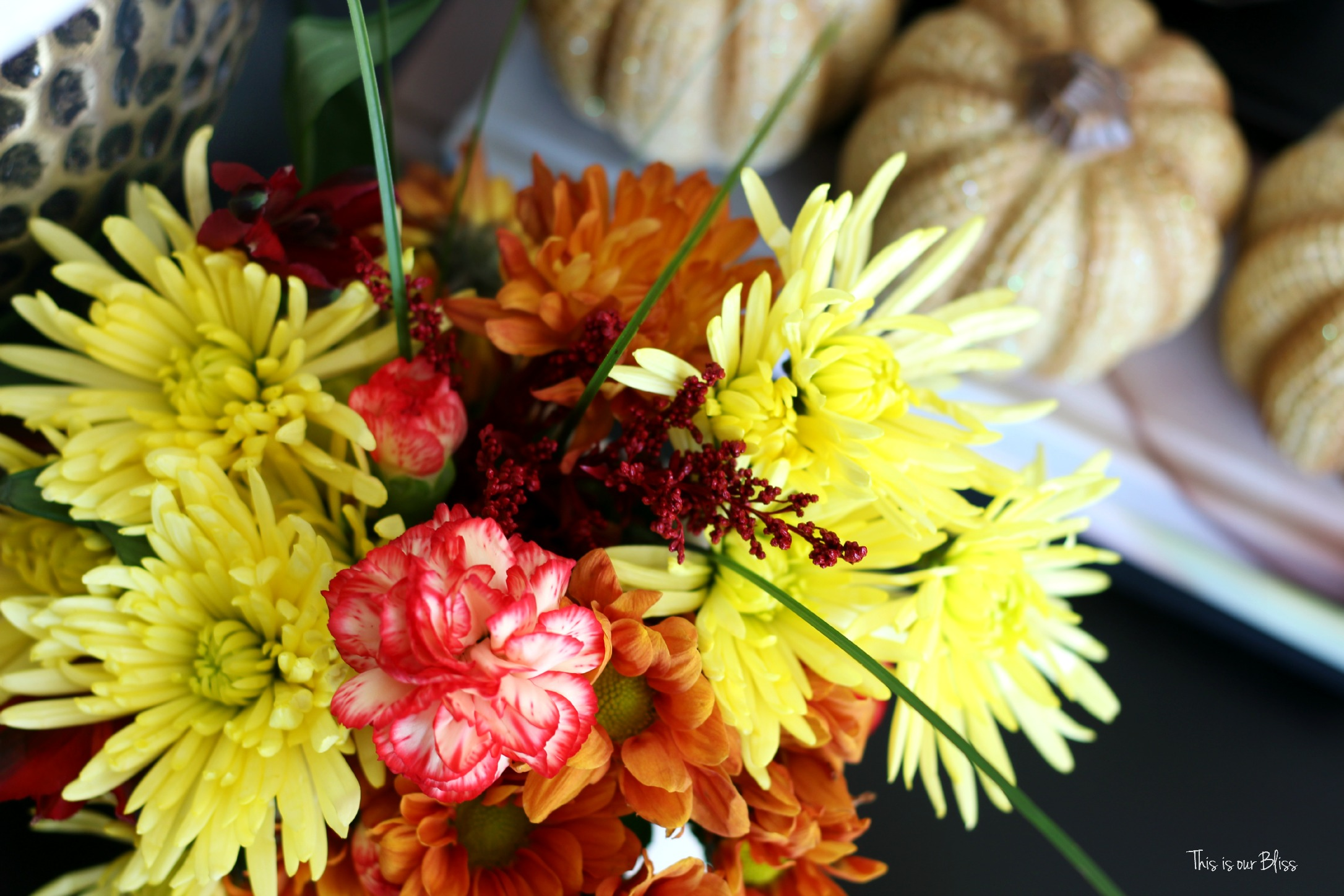 easy fall vignette - simply fall decor - fall flowers - end table styling - fall flowers - this is our Bliss