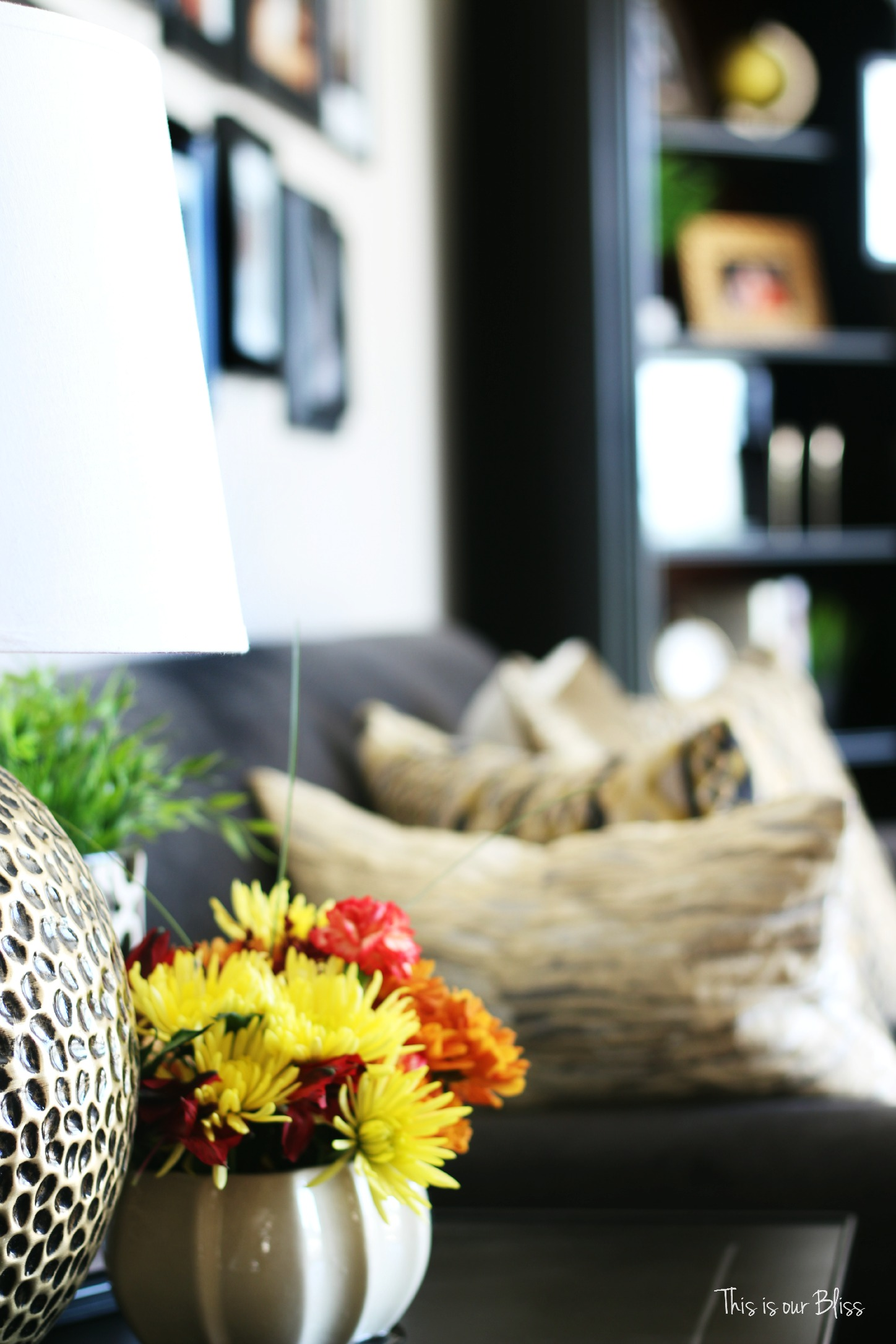 easy fall vignette - simply fall decor - fall flowers - end table styling - gallery wall - this is our Bliss