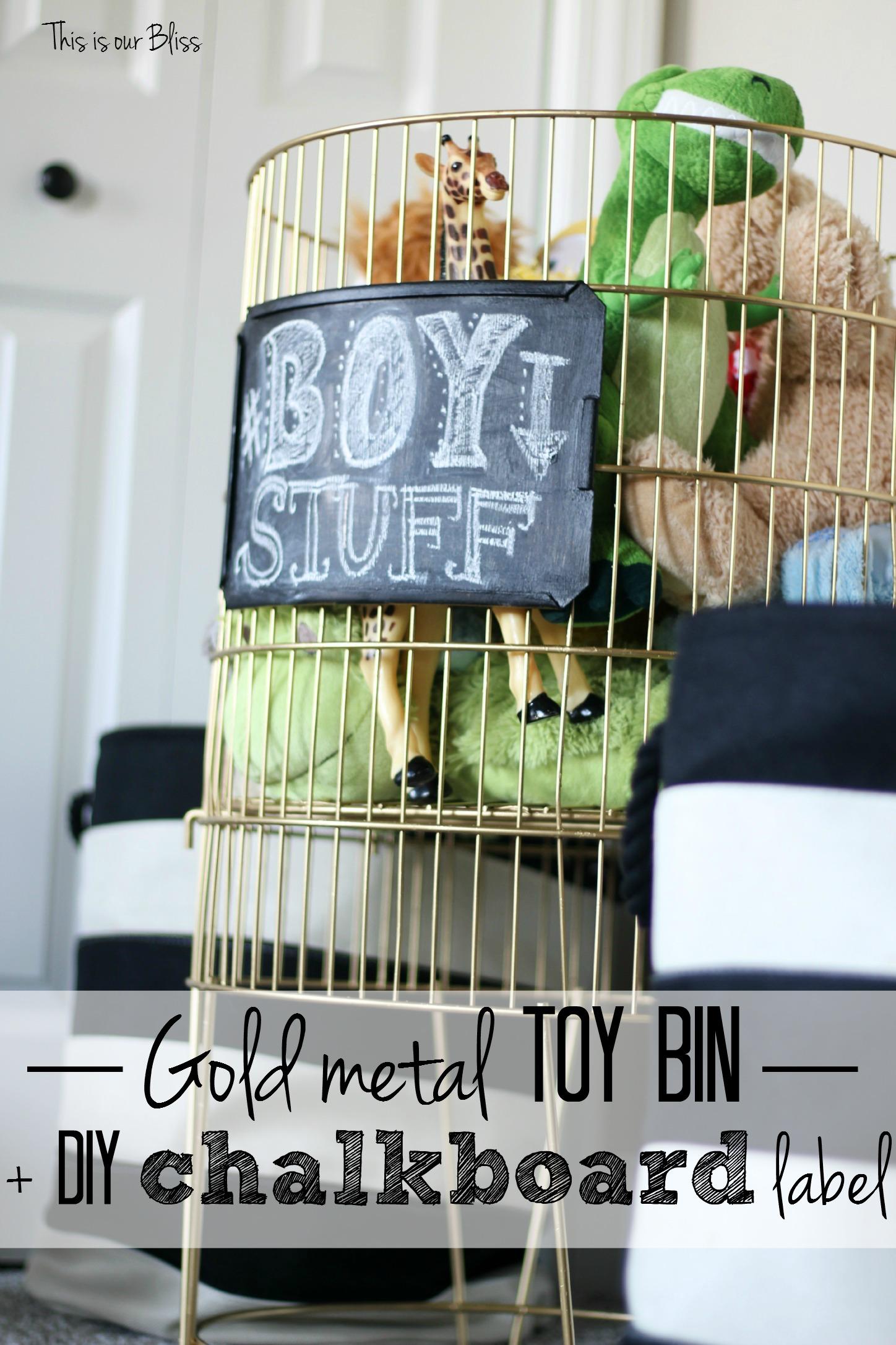 Gold Metal Toy Bin Chalkboard Label Basement Playroom