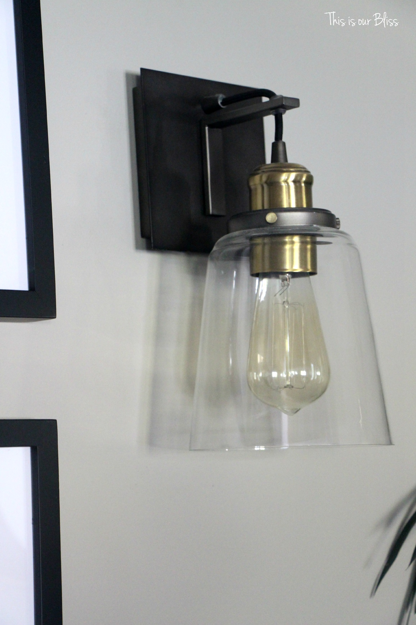 TIOB basement project industrial sconces - This is our bliss - Sherwin Williams wall color
