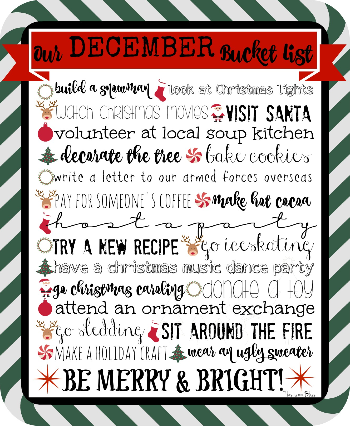 Free Printable December Bucket List This Is Our Bliss