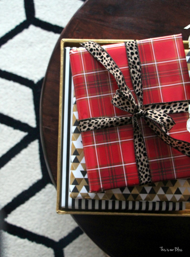 easy christmas decor - wrapped coffee table books - christmas coffee table styling - This is our Bliss