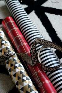 easy christmas decor - wrapped coffee table books supplies - This is our Bliss
