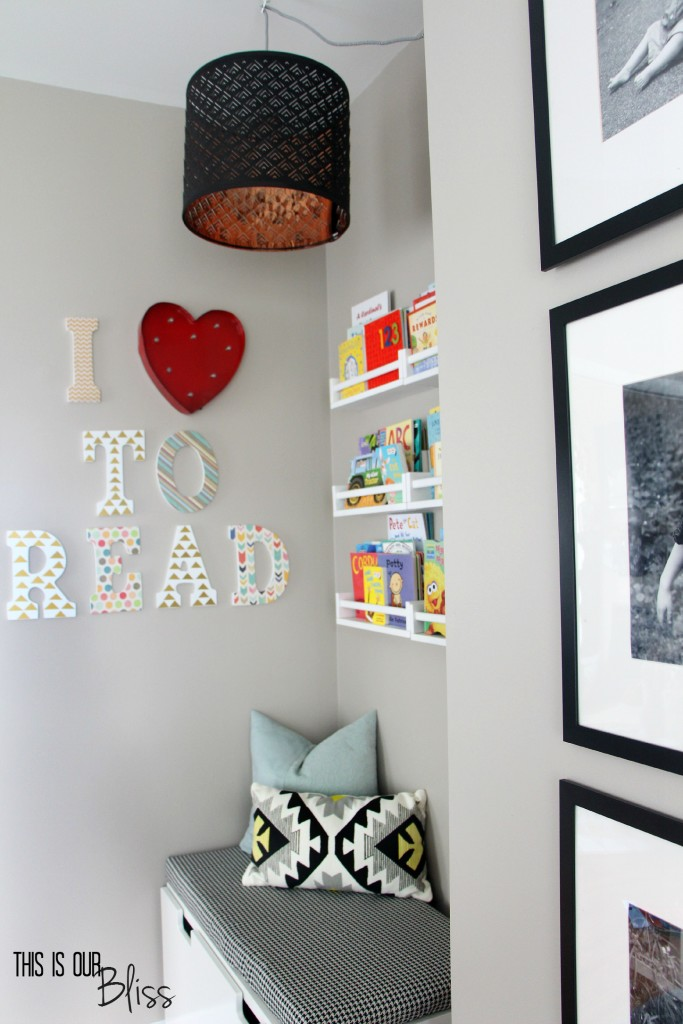 playroom reading nook - DIY light - reading corner - kids room - This is our Bliss