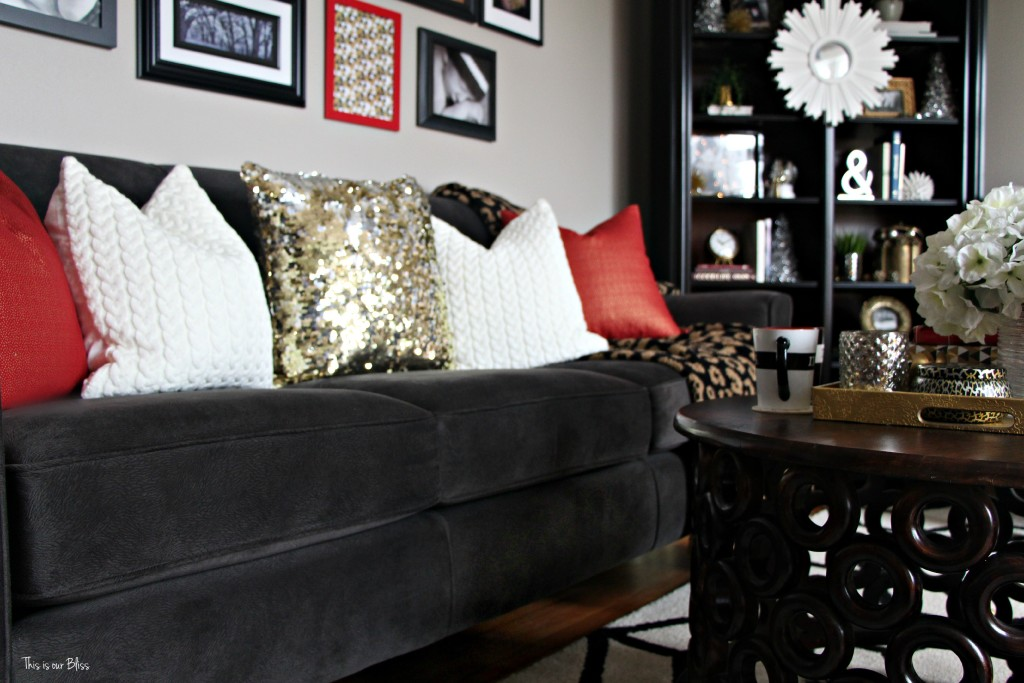 12 days of christmas tour of homes - formal living room couch with holiday pillows - christmas decor - This is our Bliss