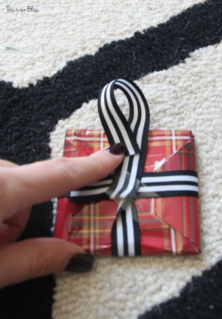 DIY wrapped present ornaments - ribbon and glue gun - This is our Bliss