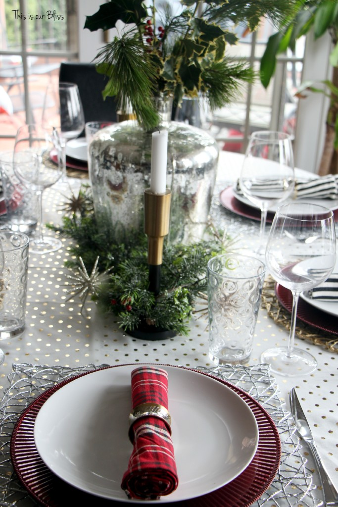 christmas table - holiday decor - plaid and stripes and polka dots - This is our Bliss