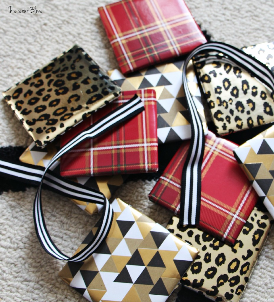 diy wrapped present ornaments - mini presents - wrapping paper - This is our Bliss