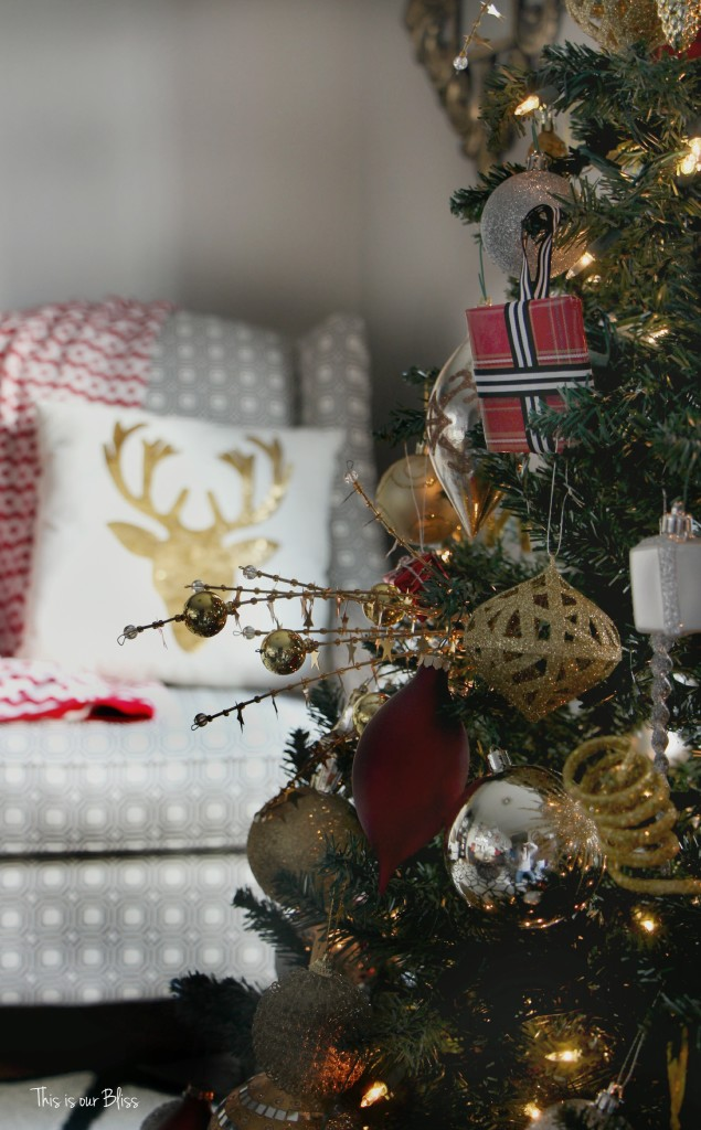 diy wrapped present ornaments - tree and chair this is our bliss