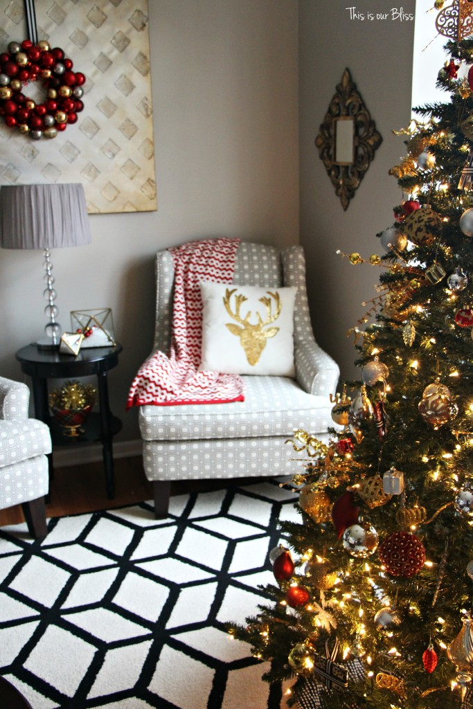formal living room christmas decor - living room tree - black and white - This is our Bliss