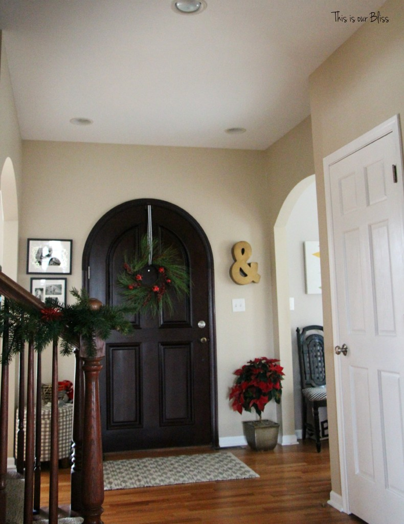 holiday home tour - front door and entryway - front door wreath - This is our Bliss