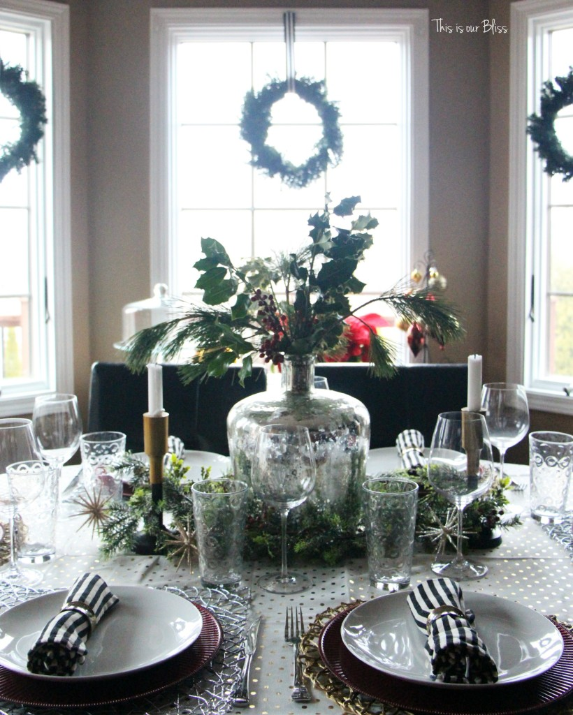 holiday tablesetting - christmas table - trimmings - centerpiece - black and white stripes- This is our Bliss