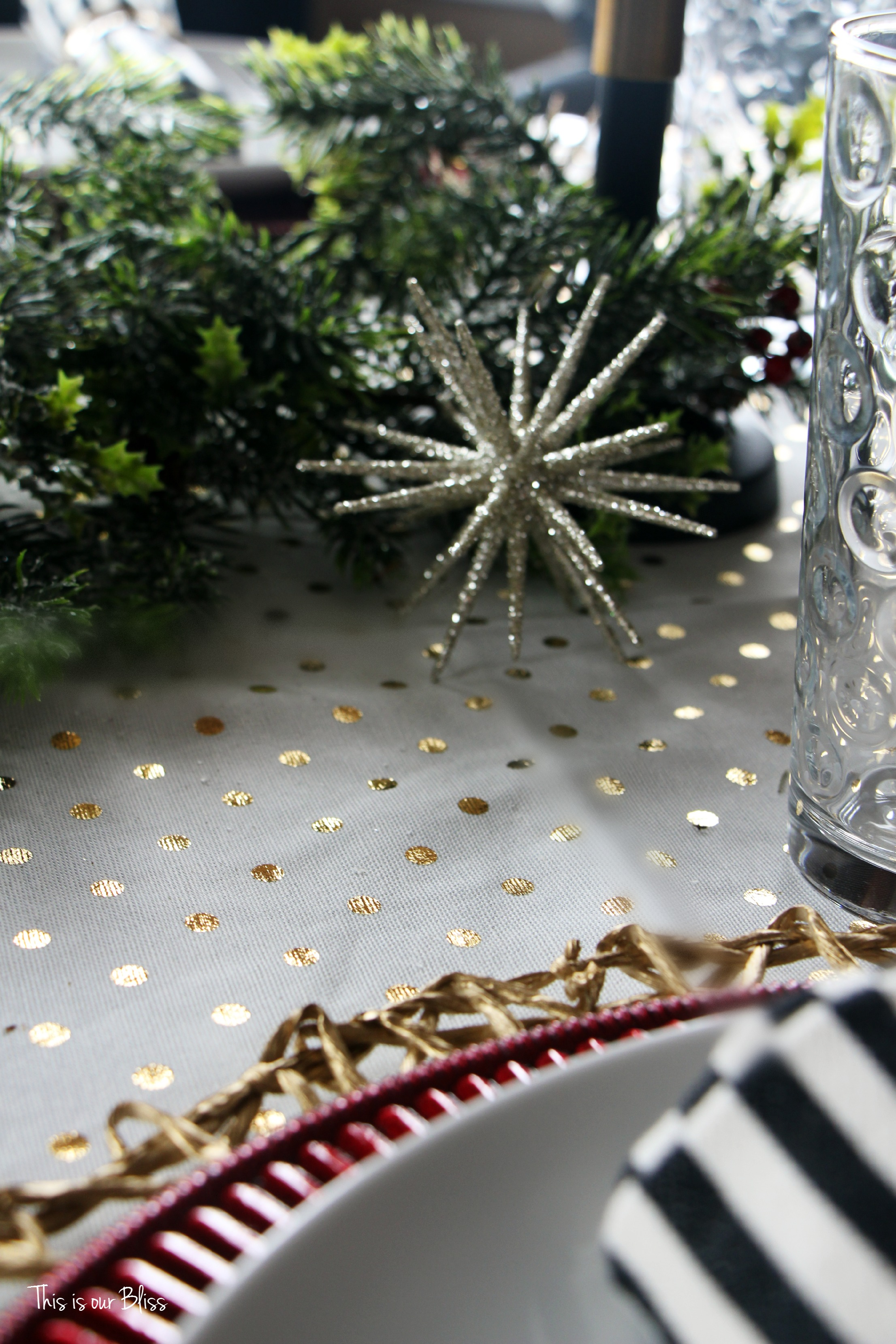 holiday tablesetting - christmas table - trimmings - centerpiece - stripes gold polka dots -This is our Bliss