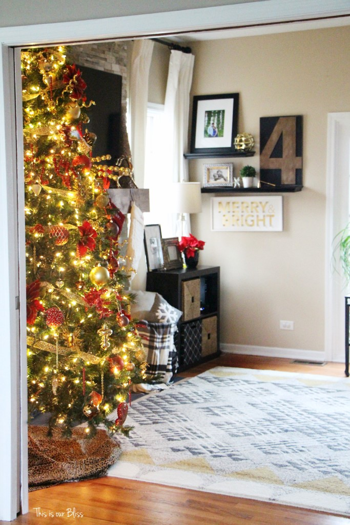 merry bright and blissful holiday home - family room christmas tree - thisisourbliss.com