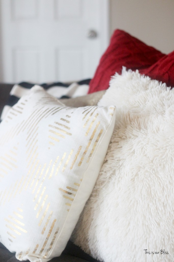 merry bright and blissful holiday home - family room couch throw pillows - thisisourbliss.com