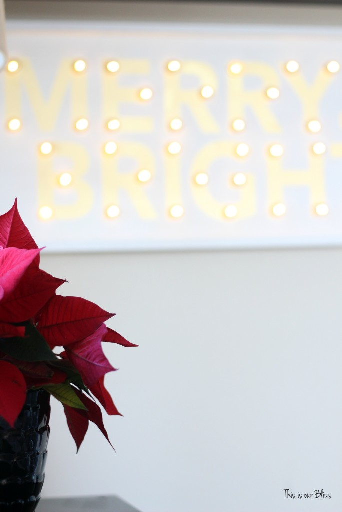 merry bright and blissful holiday home - family room - merry and bright marquee - thisisourbliss.com