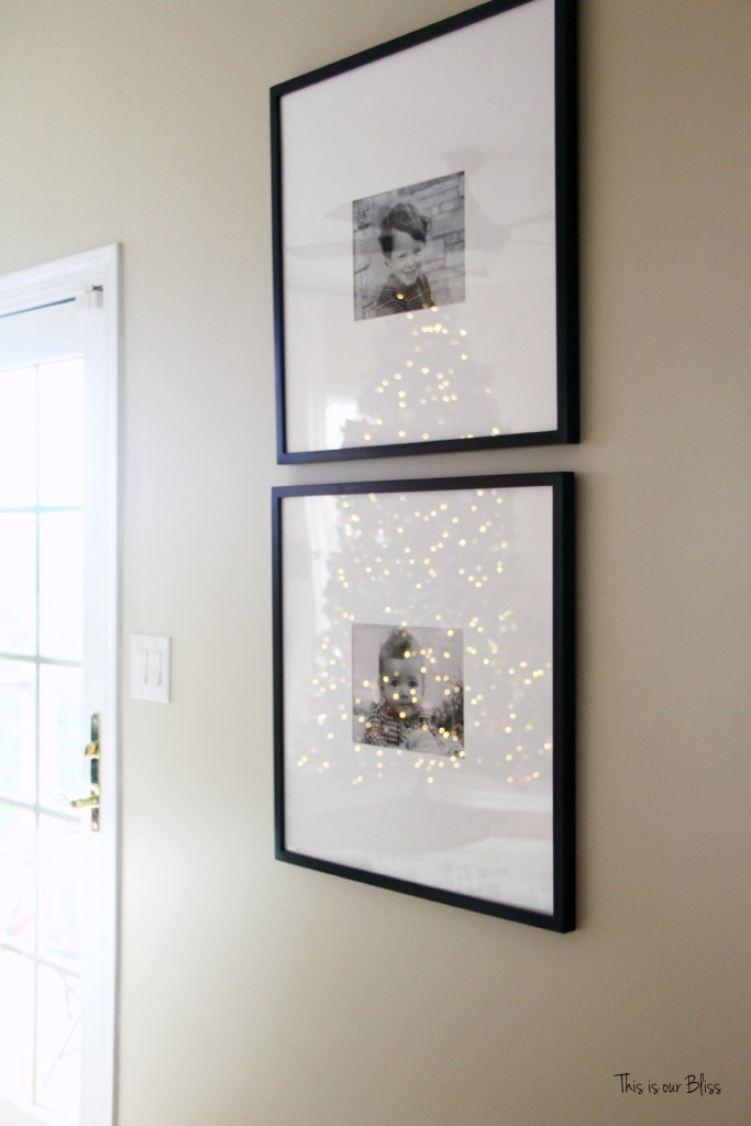 merry bright and blissful holiday home - family room pottery barn frames - thisisourbliss.com