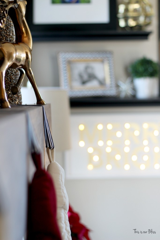merry bright and blissful holiday home - family room stockings - merry and bright marquee - thisisourbliss.com