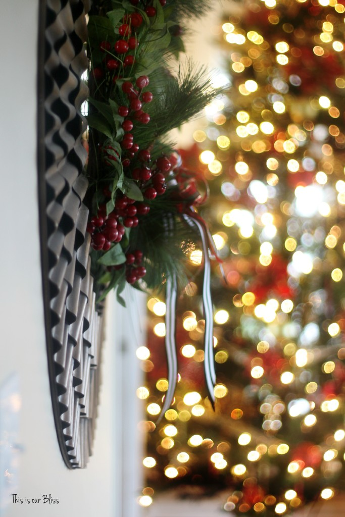 merry bright and blissful holiday home - family room tree and wreath - thisisourbliss.com