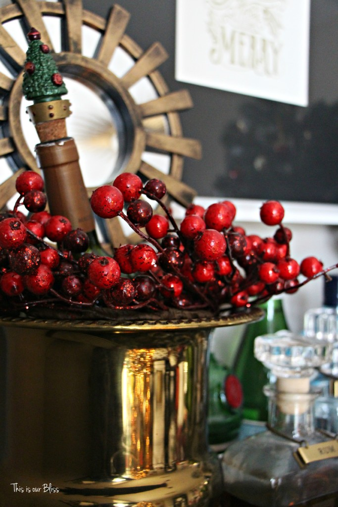 merry bright and blissful holiday home - holiday bar - gold trophy ice bucket - bar accessories - bar styling - thisisourbliss.com