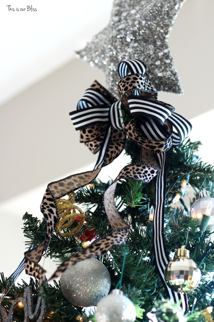 my home style blog hop - christmas tree edition - leopard and stripe bow - thisisourbliss.com
