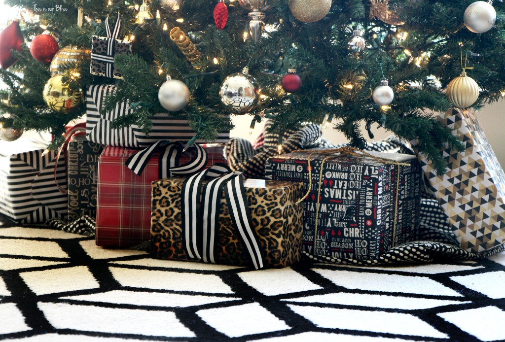 my home style christmas tree edition - bold neutral glam - black white gold red christmas tree - thisisourbliss.com