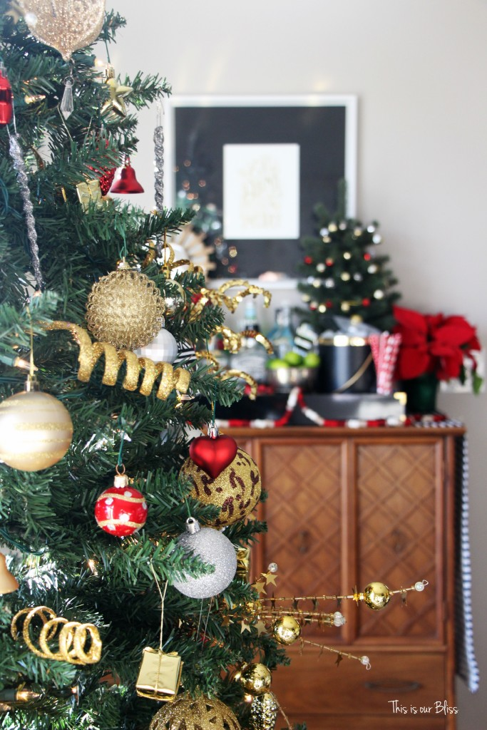 my home style christmas tree edition - bold neutral glam - living room tree - holiday bar - thisisourbliss.com
