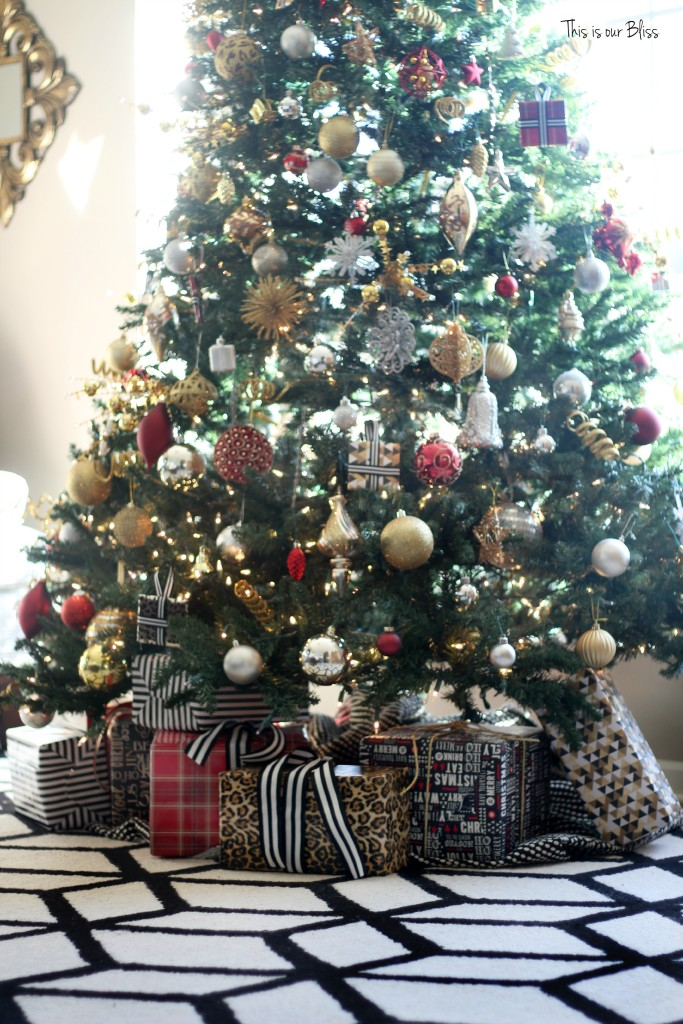 my home style christmas tree edition - bold neutral glam - red black white gold - thisisourbliss.com