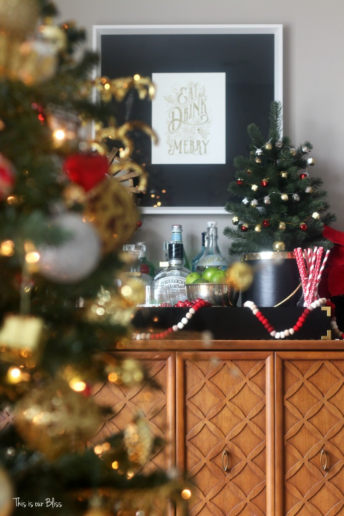 this is our bliss - merry bright and blissful holiday home - holiday bar - living room bar - thisisourbliss.com