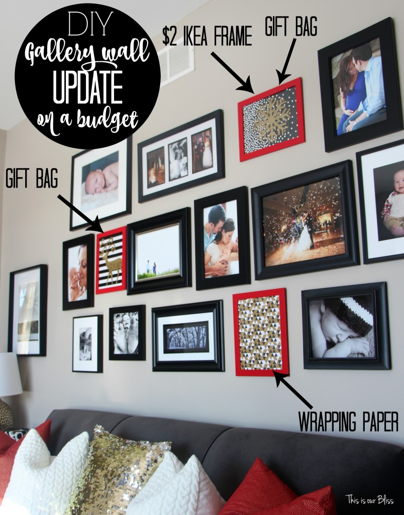 DIY Gallery wall update on a budget red, black, white and gold Christmas gallery wall This is our Bliss www.thisisourbliss.com