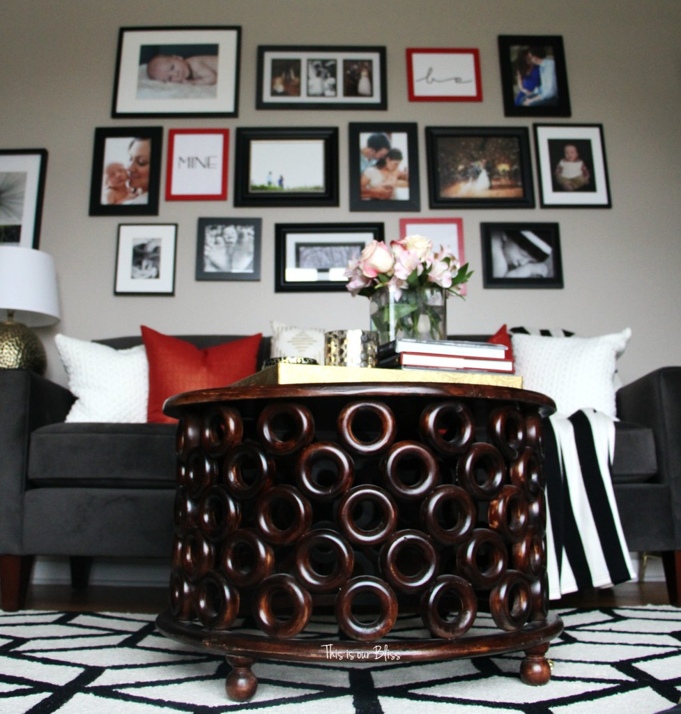 DIY budget gallery wall update 1 Valentines gallery wall DIY gallery wall update red, black and white living room gallery wall This is our Bliss www.thisisourbliss.com