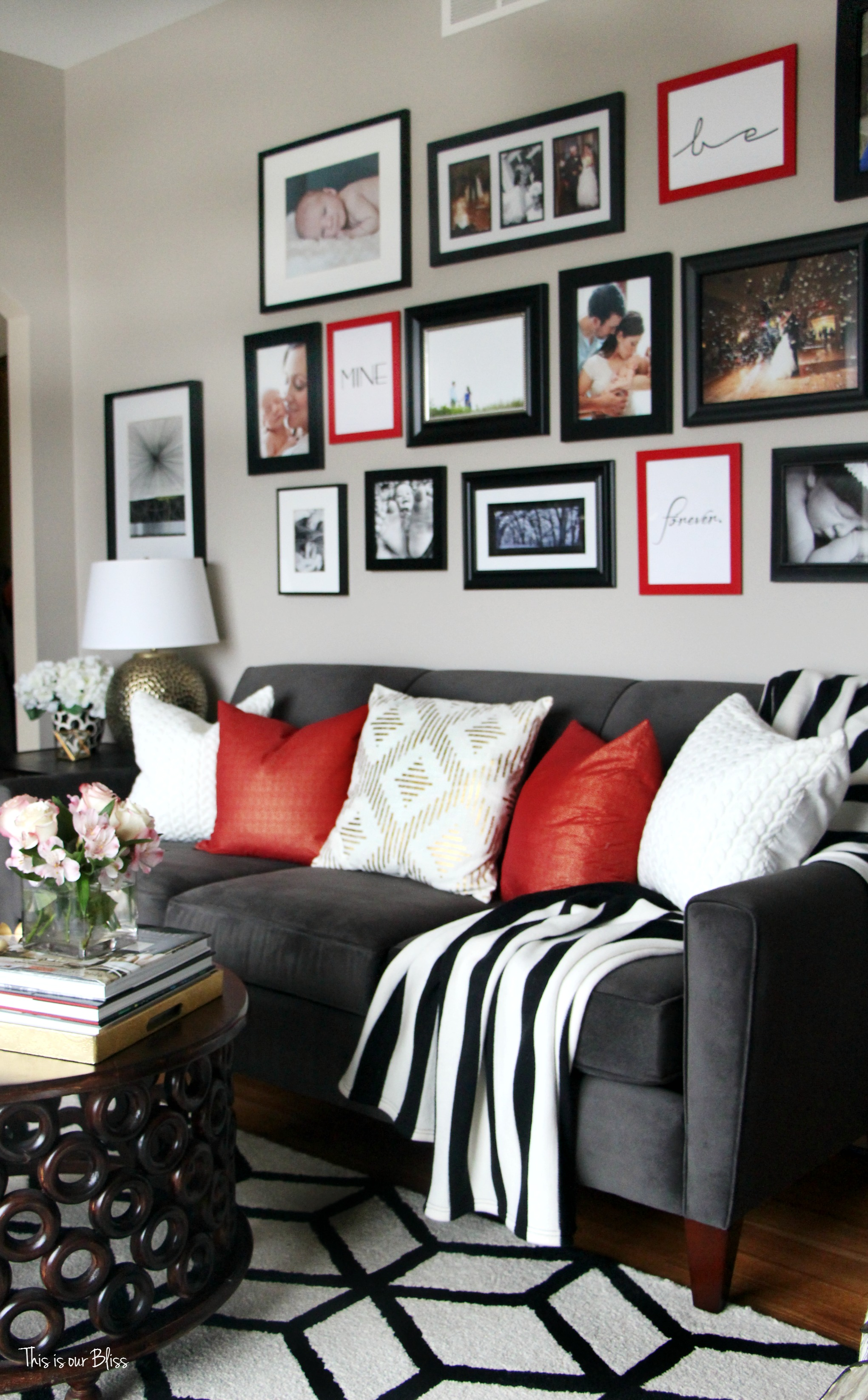 wonderful red white black living room ideas | How to Update Your Gallery Wall on a Budget | This is our ...