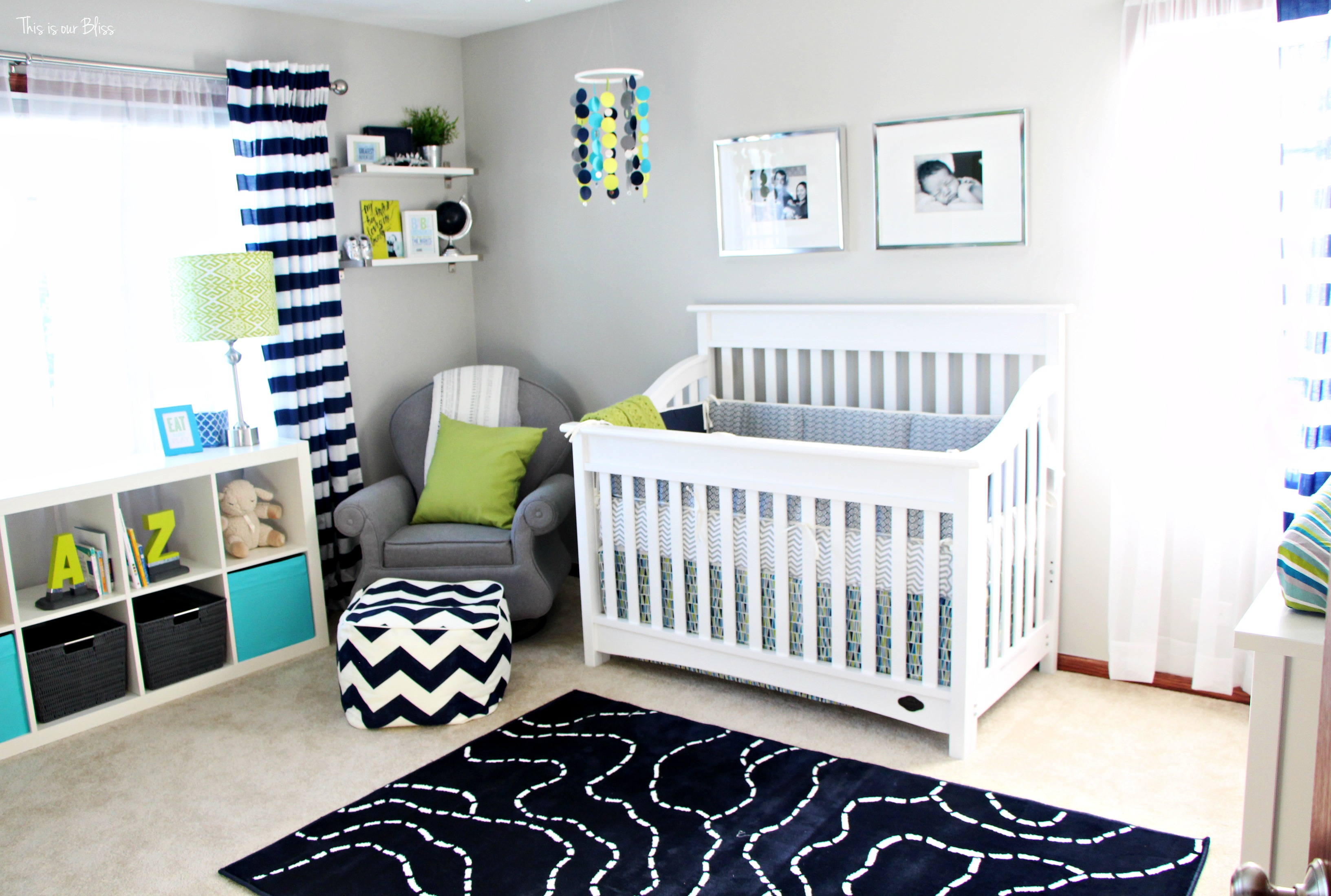 Navy Blue And Gray Baby Boy Room