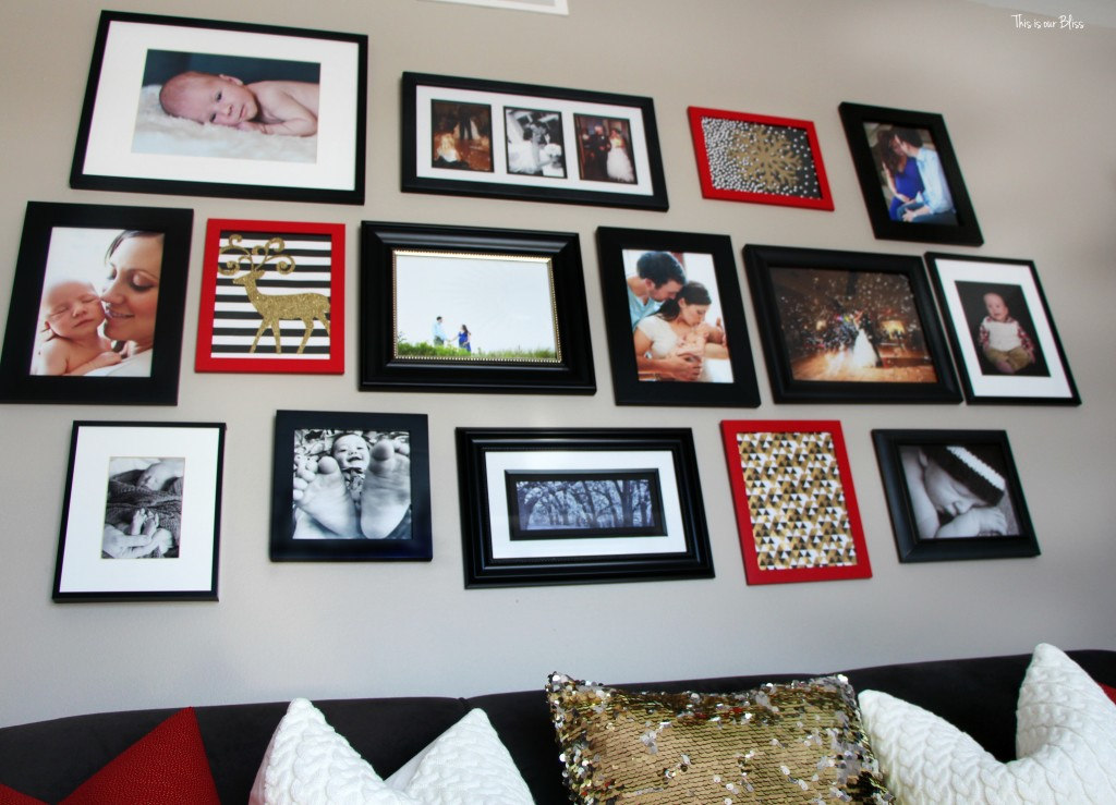christmas gallery wall - $6 gallery wall - red frames - red, black, white and gold gallery wall - This is our Bliss www.thisisourbliss.com