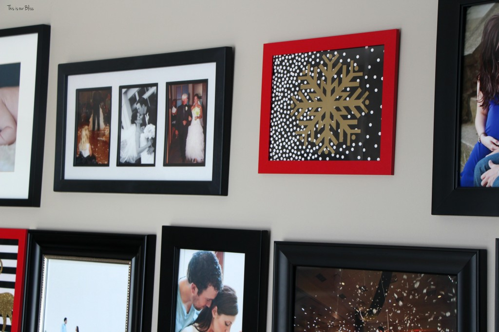 holiday gallery wall red frames $6 gallery wall update This is our Bliss www.thisisourbliss.com