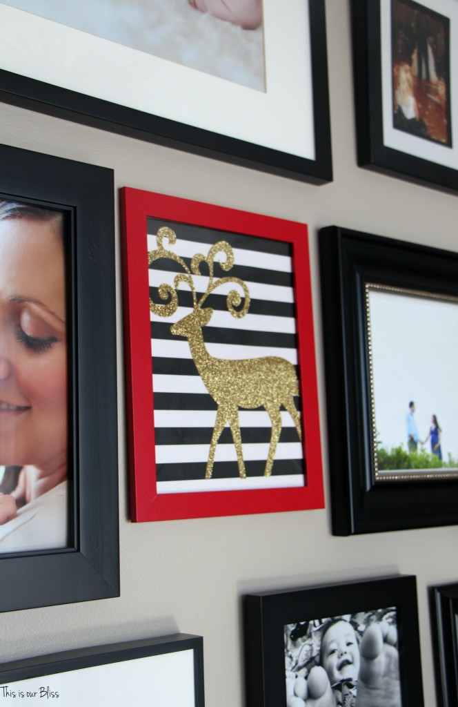 holiday gallery wall - red, white, black and gold gallery wall - $6 gallery wall This is our Bliss www.thisisourbliss.com