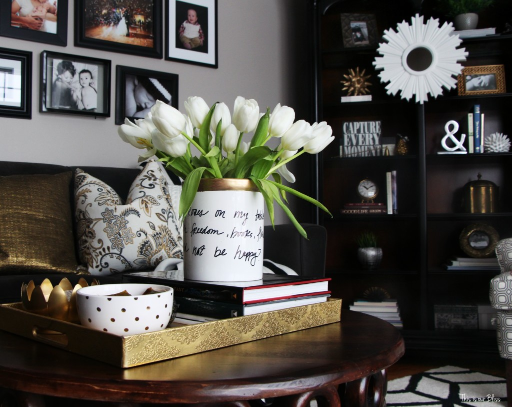 How to DIY a Kate Spade vase how to create a Kate spade inspired vase---daisy place vase Knock it off DIY blogger challenge This is our Bliss www.thisisourbliss.com