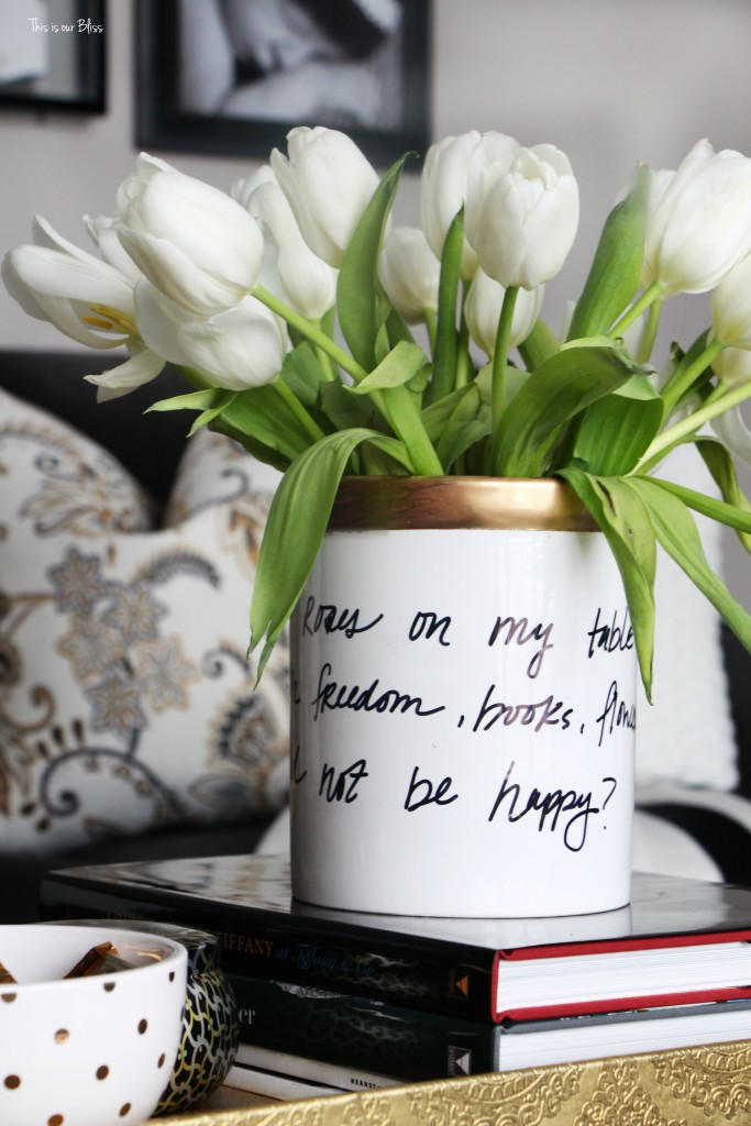 Knock it off DIY Monthly Blogger Challenge how to create a Kate spade inspired vase daisy place vase diy vase with untensil holder This is our Bliss www.thisisourbliss.com
